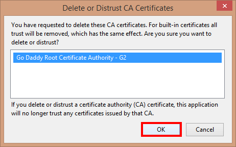 Delete or Distrust CA Certificates