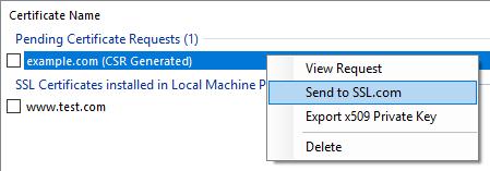 SSLM CSR Context Send to SSL.com