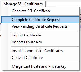 Complete Certificate Request Menu