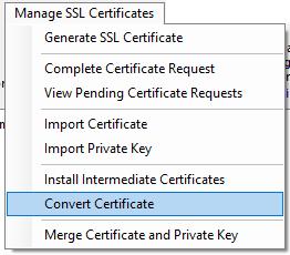 Convert Certificate Menu