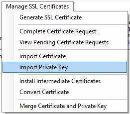 Import Private Key Menu