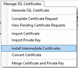 Install Intermediate Certificates Menu