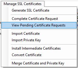 View Pending Certificate Requests Menu