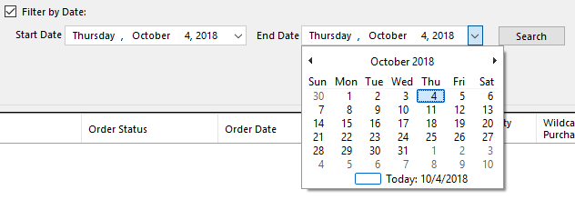 Orders & Vouchers filter date