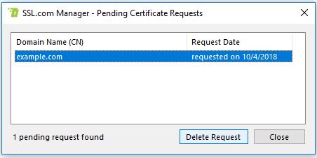 View Pending Cert Requests delete