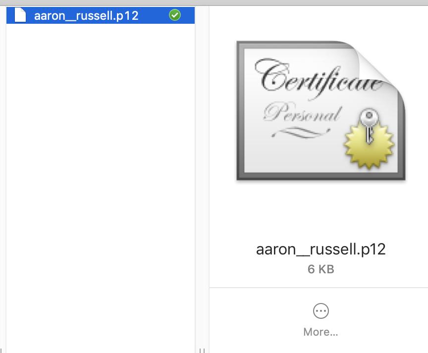 Certificate in Finder