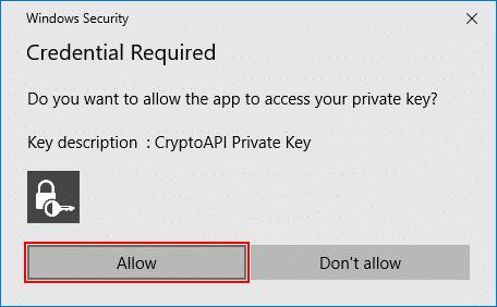 Security dialog box