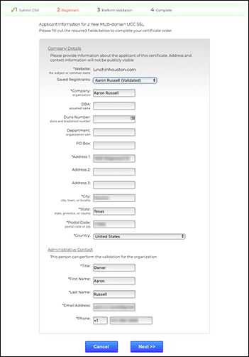 Enter applicant information