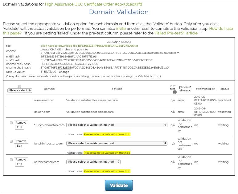 Domain Valdation
