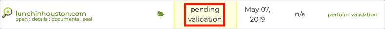 pending validation