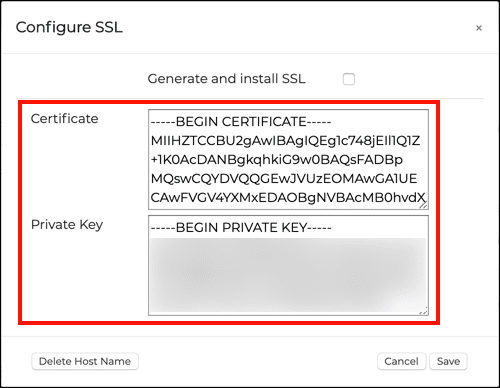 Manually configure SSL