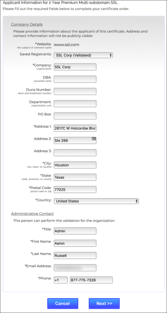 add contact information