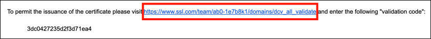 validation link in email message