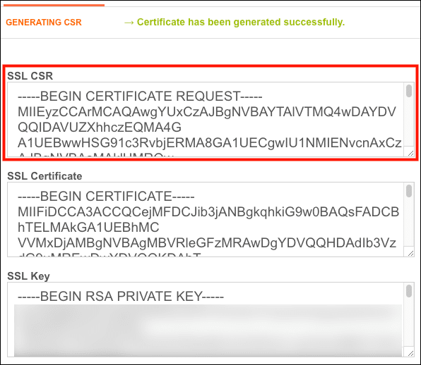 CSR, Certificate, and Key