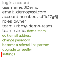 settings link