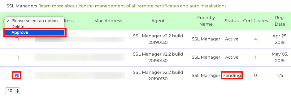 Approve SSL Manager