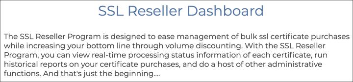 SSL.com Reseller Dashboard