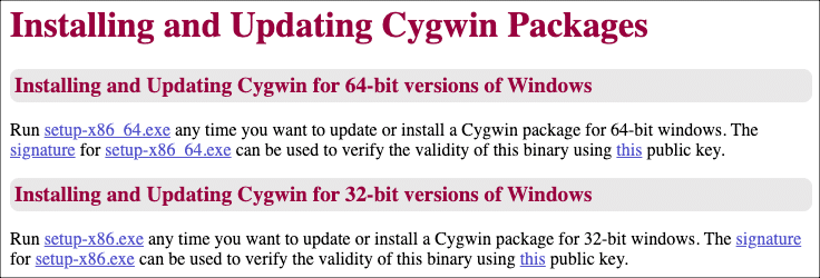 Cygwin packages