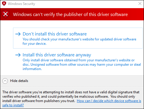 Unsigned driver installation warning