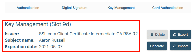 Certificate installed