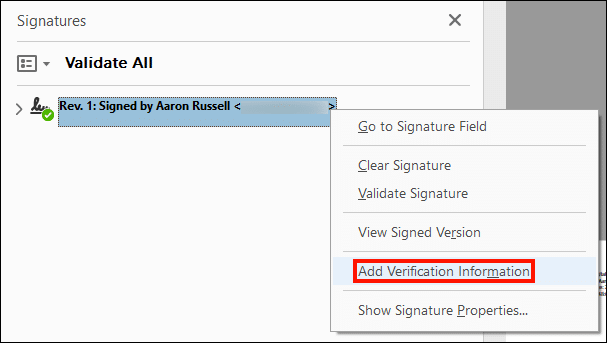 Add Verification Information from the context menu.