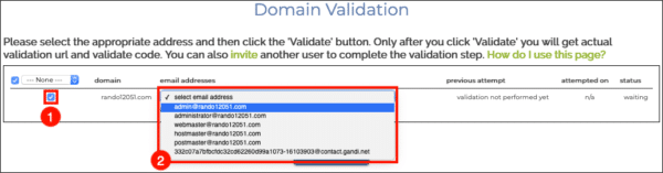 choose email address for validation