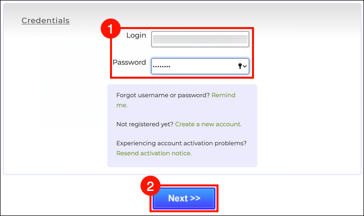 Enter login credentials and click the Next button