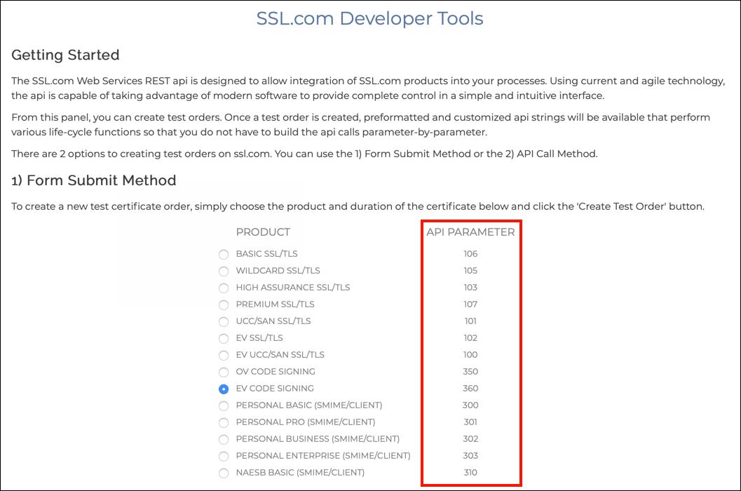 API Parameters