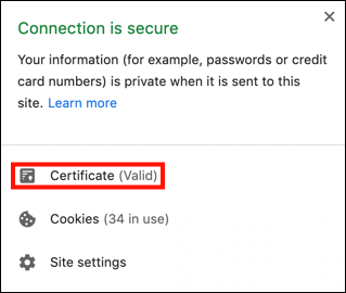 Connection is secure