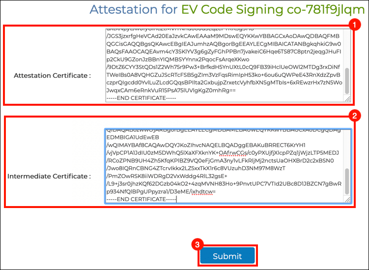 paste attestation and intermediate certifcates