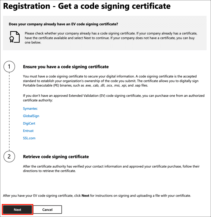 Get a code signing certificate
