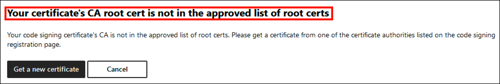 Certificate not in approved list of root certs