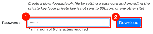 create password and download PFX