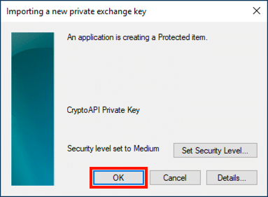 Importing a new private exchange key