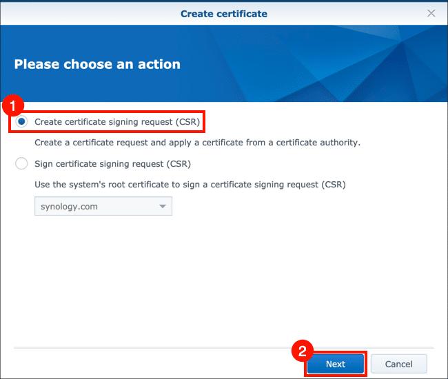 Create certificate signing request