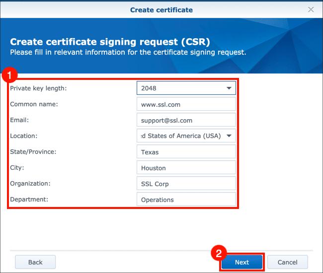 enter CSR information