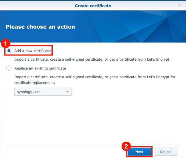 Add a new certificate