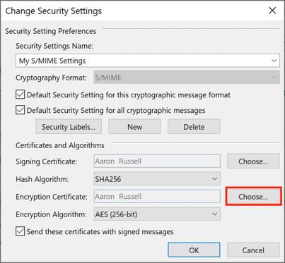 Choose encryption certificate