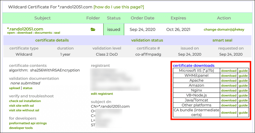 Certificate download links