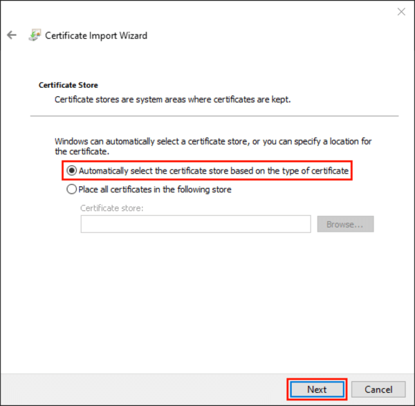 automatically select certificate store