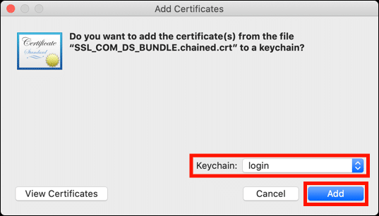 Add certificates to login keychain