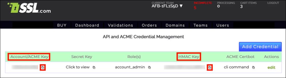 Account/ACME Key and HMAC Key