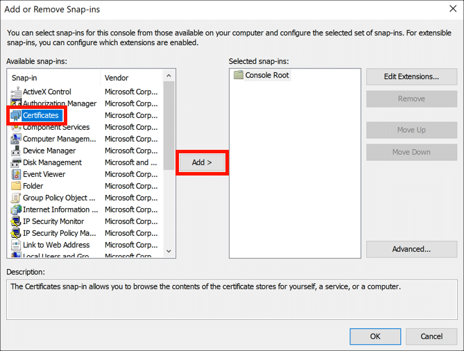 Add certificates snap-in