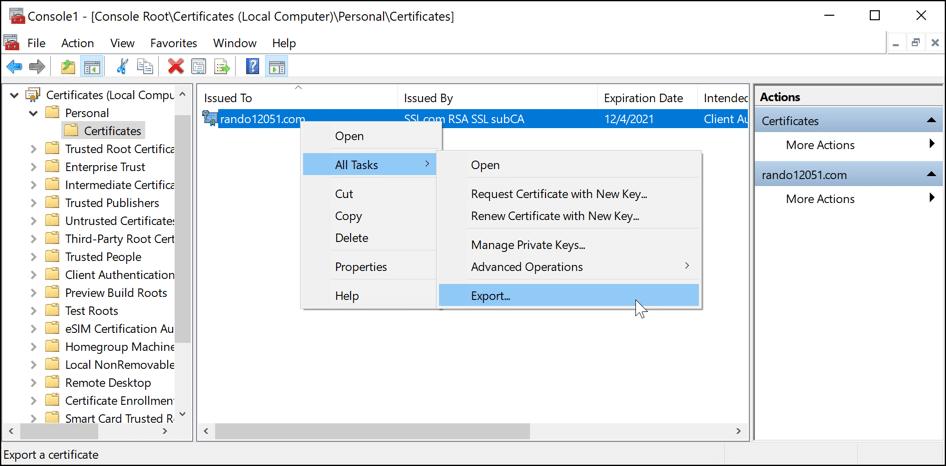 All Tasks > Export