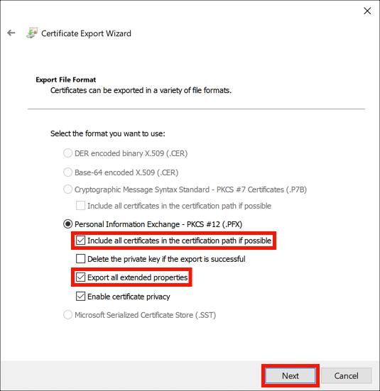 Set PFX options