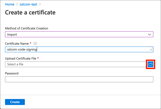 Upload certificate file