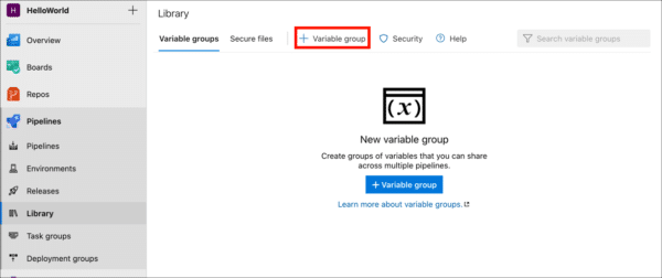 Add variable group