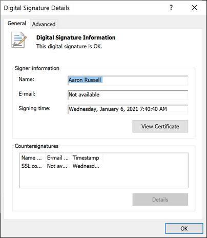 Digital Signature Details