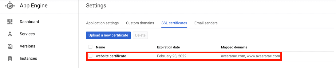 certificate in app engine