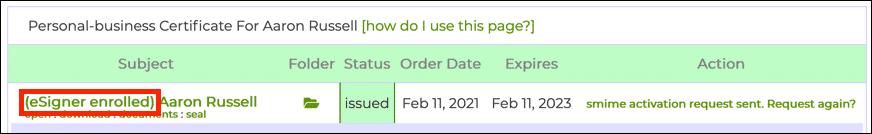 eSigner enrolled